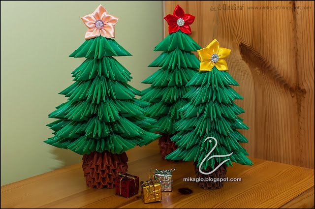 516. Choinki z origami / 3d origami christmas trees