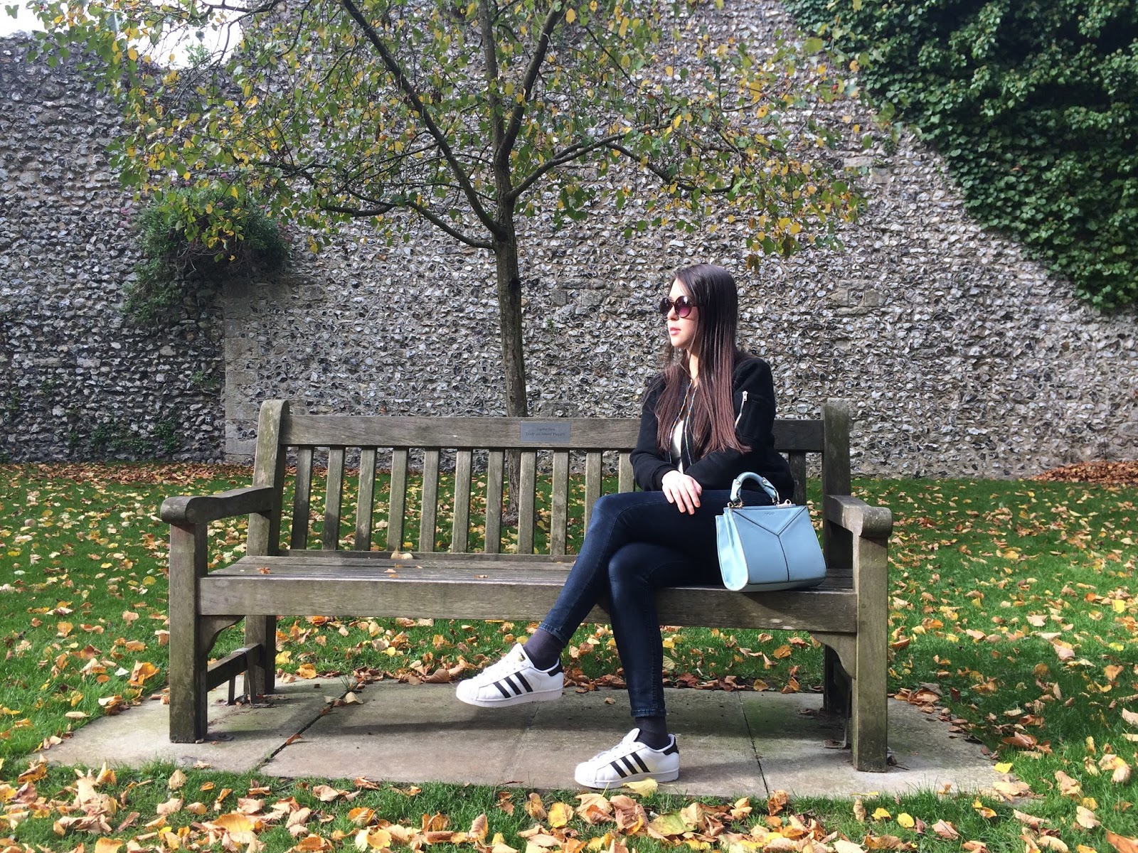 ootd outfit post, fashion blogger bomber jacket adidas trainers mini bag