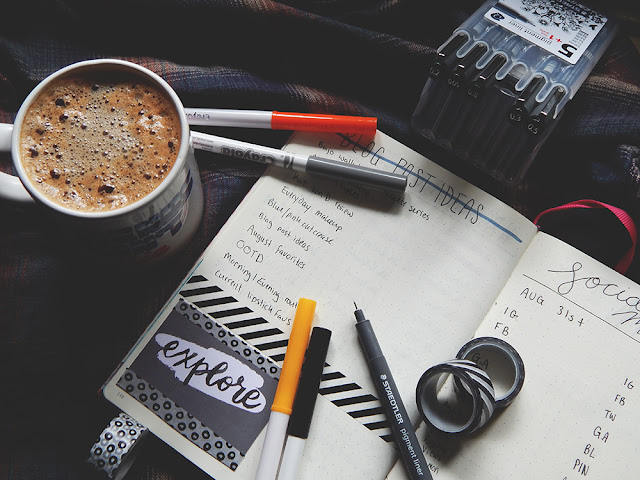 September monthly bullet journal spread goals, photo challenge, and habit tracker.
