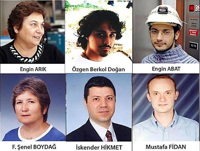 2007 yılında Isparta'da düşen uçakta hayatını kaybeden bilim insanları; Engin Arık, Özgen Berkol Doğan, Engin Abat, F. Şenel Boydağ, İskender Hikmet ve Mustafa Fidan