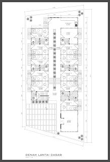 Denah Lantai Dasar rumah kost minimalis modern 2 lantai