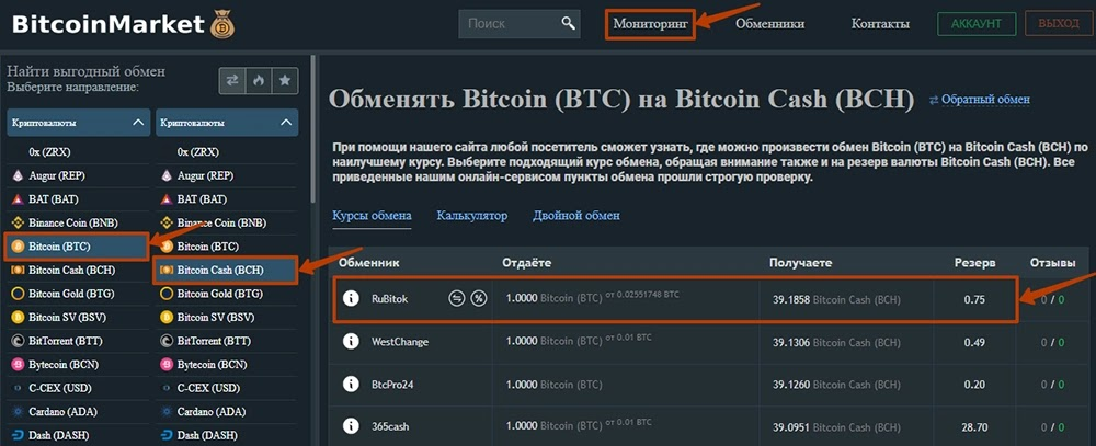 Обмен валют на BitcoinMarket.global