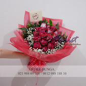 buket bunga mawar merah import