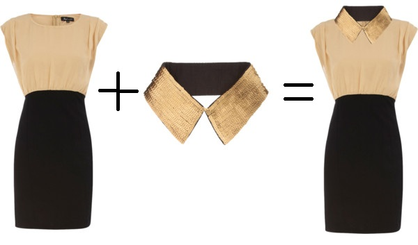 removable+collar+necklace+with+shift+dress Trend Watch: Peter Pan Collar Necklaces