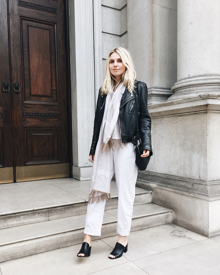 heleneisfor in London, Meg Shop jumpsuit, Maryam Nassir Zadeh, BLK DNM leather jacket, Bottega Veneta messenger bag, Cienne NY scarf
