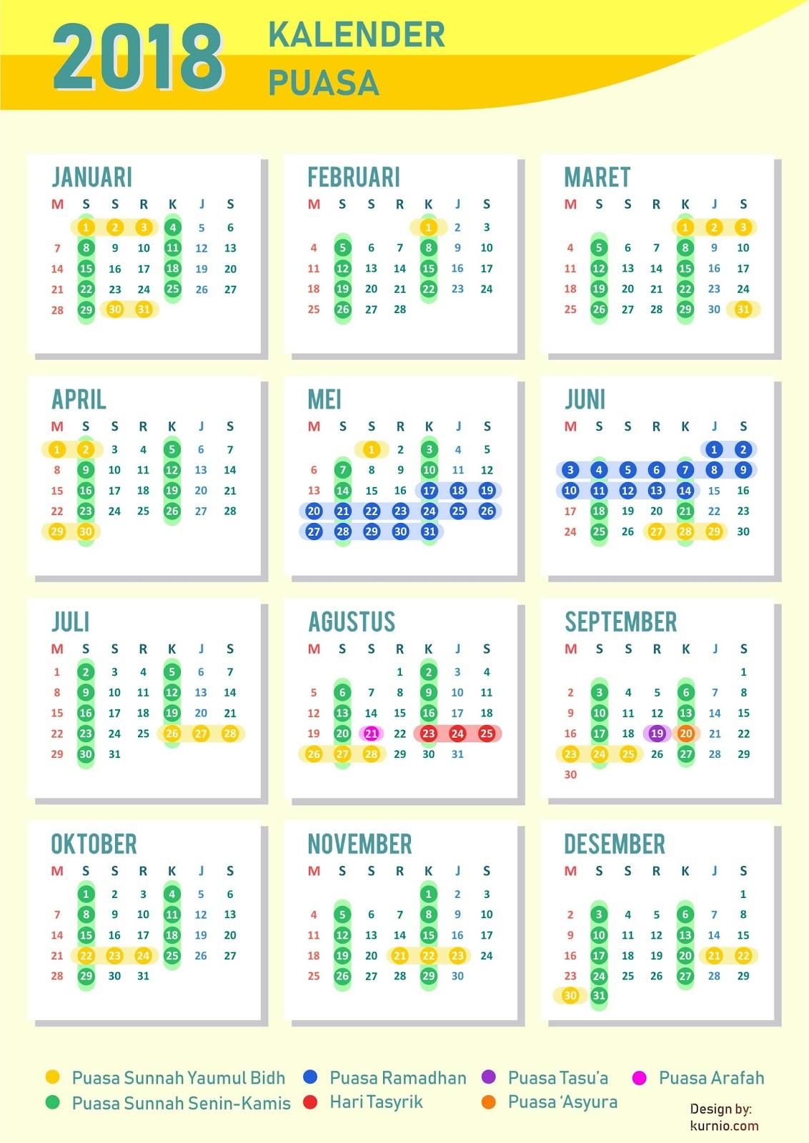 Kalender Puasa Sunnah 2018: Yuk Amalkan!