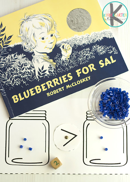 Blueberries for Sal Math Activity - this is such a fun hands on math activity for preschool, prek, kindergarten and first grade perfect for summer. Just print free printable math game so learn about greater than and less than #blueberriesforsal #kindergarten #kindergartenmath