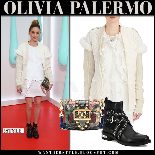 Olivia Palermo in cream knit shearling caridgan burberry, white mini skirt and black ankle boots miu miu what she wore red carpe may 2017