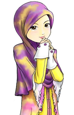 kartun muslimah cantik berhijab ungu