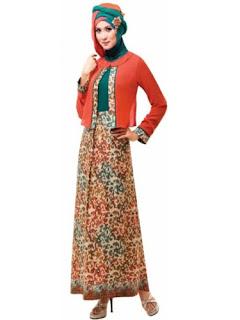 Model Long Dress Batik Kombinasi Polos