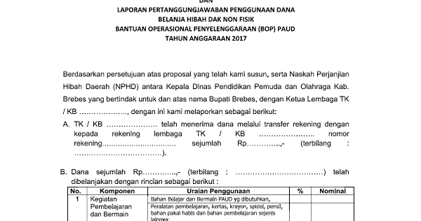 Format Lpj Bop Paud Terbaru 2017 Akses Guru