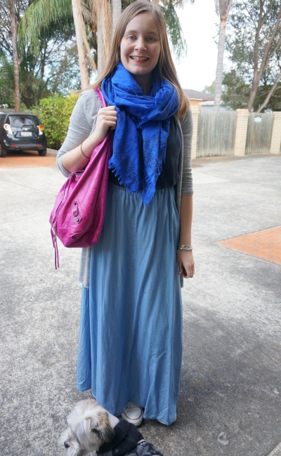 cobalt scarf navy tee chambray maxi skirt pink balenciaga day bag | AwayFromBlue