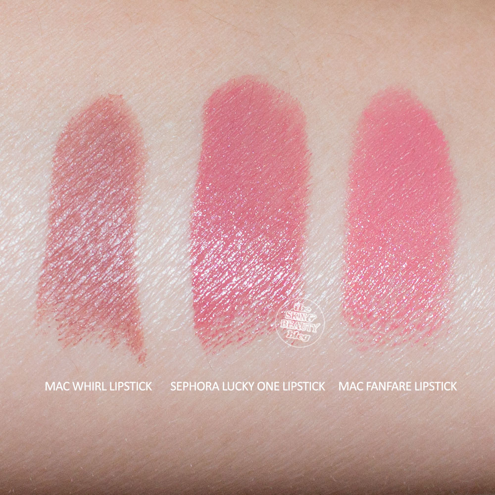 MAC Whirl Lipstick, Sephora Lucky One Lipstick, MAC Fanfare Lipstick Review Swatches