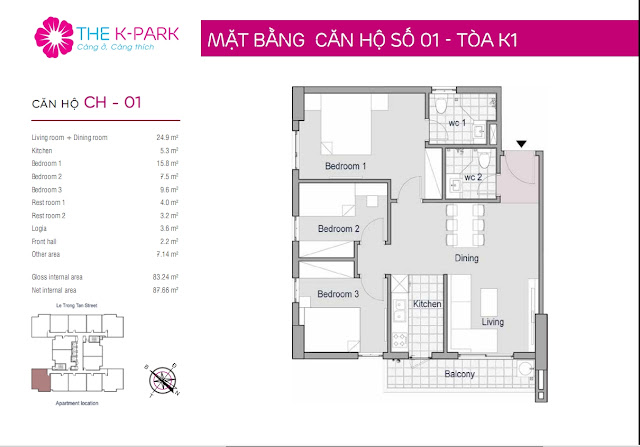 Thiết kế căn hộ số 01 tòa k1
