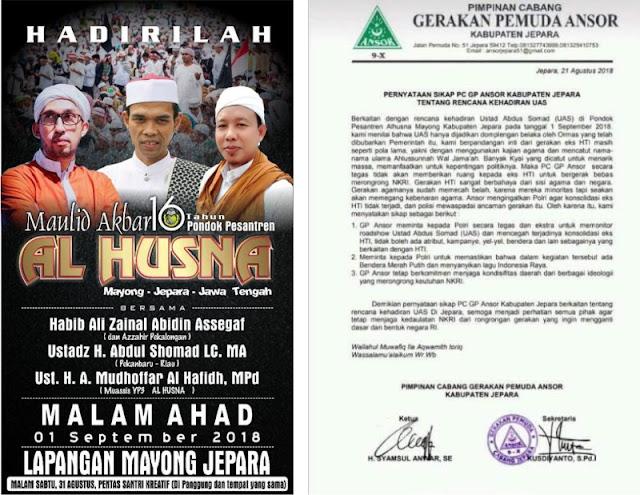 Ansor Curigai Tabligh Akbar Ustadz Somad di Jepara Dipakai Konsolidasi Eks HTI