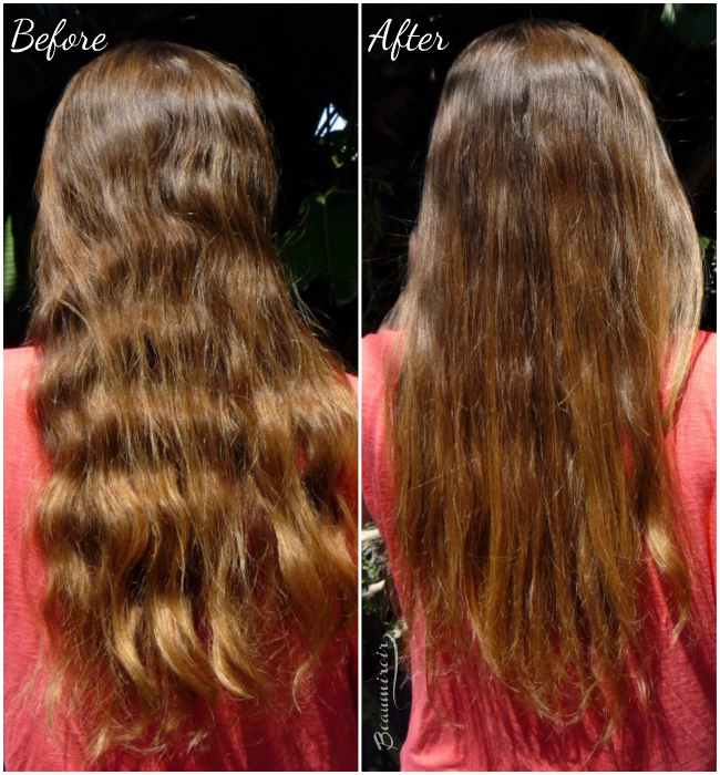 Before-after using Irresistible Me Diamond Professional Styling iron