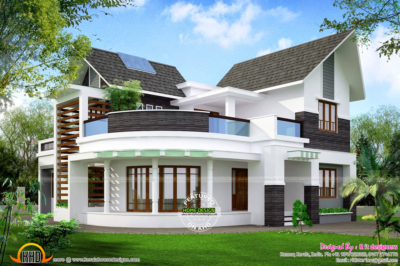 Beautiful unique house kerala home design and floor plans for Custom farmhouse plans