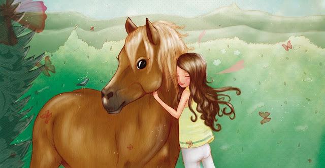 cheval, fillette, câlin