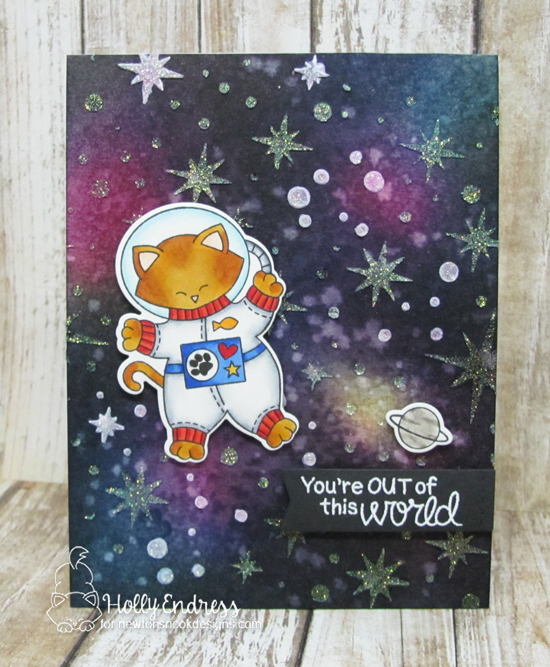 Cat in Spacesuit Card by Holly Endress | Cosmic Newton Stamp Set and Starfield Stencil by Newton's Nook Designs #newtonsnook