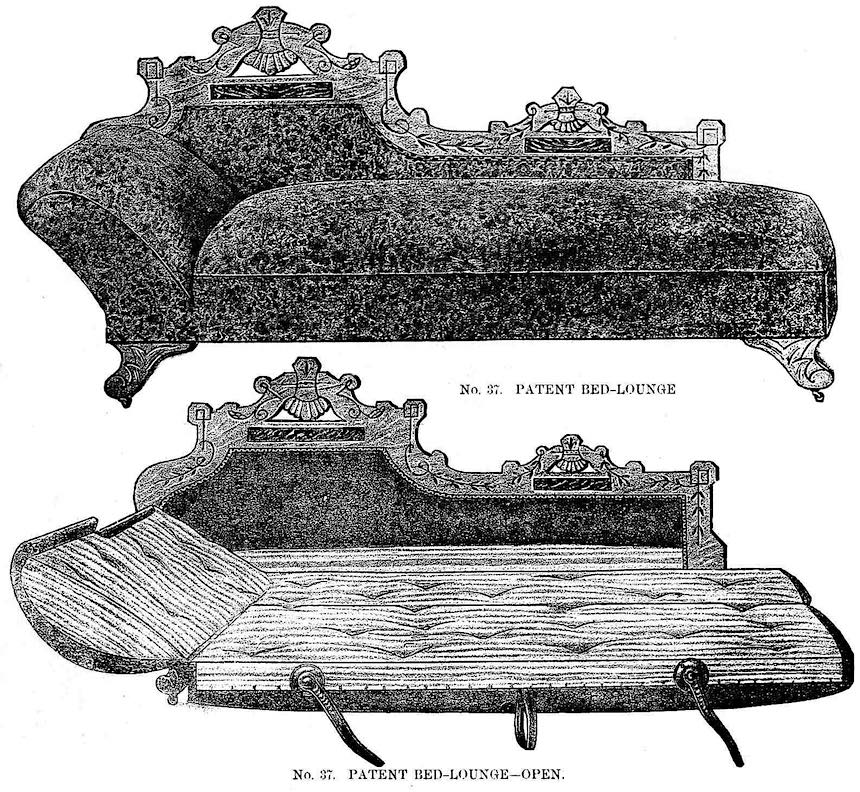 an 1883 fold-out bed illustration from a catalog