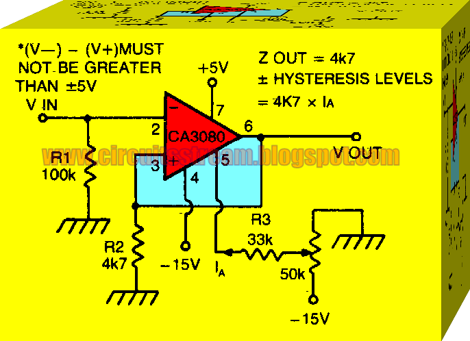 Electronic Schmitt Trigger with Programmable Hysteresis Circuit Diagram