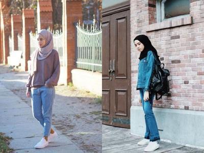 Inspirasi Jeans  dan Hijab Untuk Santai dan Bepergian