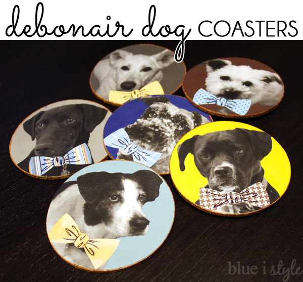 DIY dogs wearing bow ties coasters