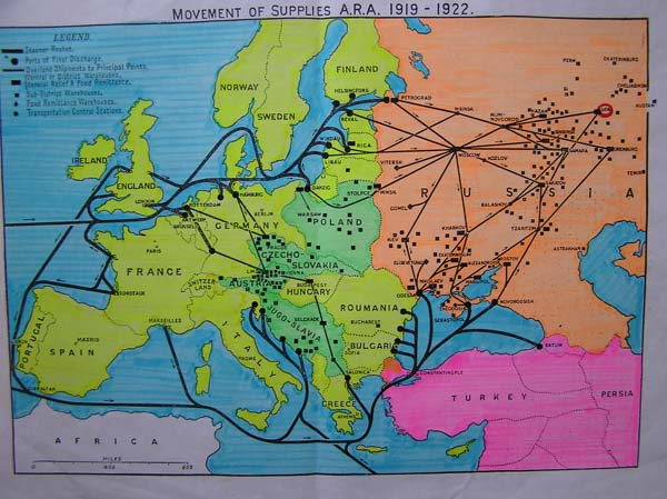 Карта американской продовольственной помощи Советской России