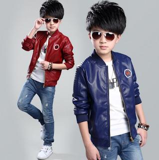 model jaket kulit keren untuk anak cowok warna merah dan biru