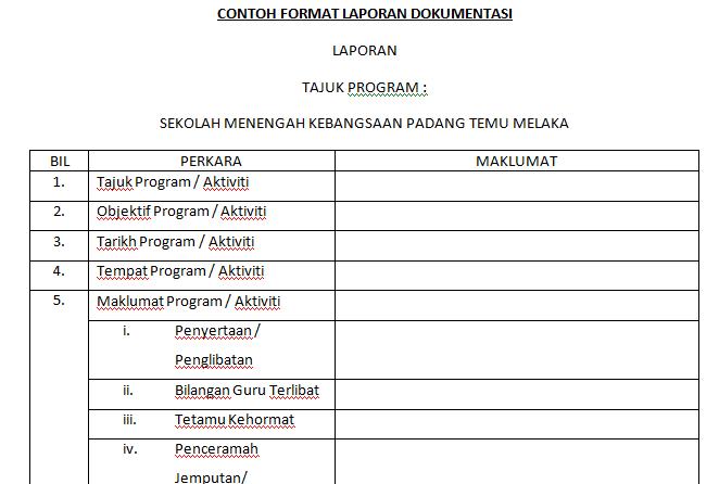 Smk Padang Temu 2014 Contoh Format Laporan