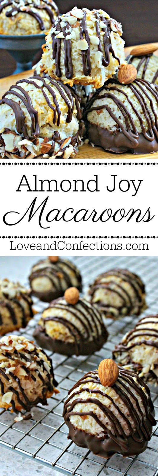 Almond Joy Coconut Macaroons from LoveandConfections.com