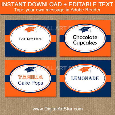 graduation food label template in orange and navy