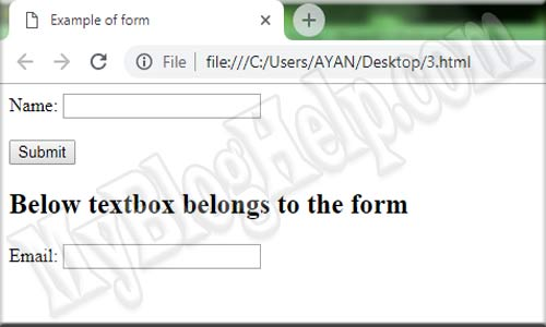 form tag with input attribute example