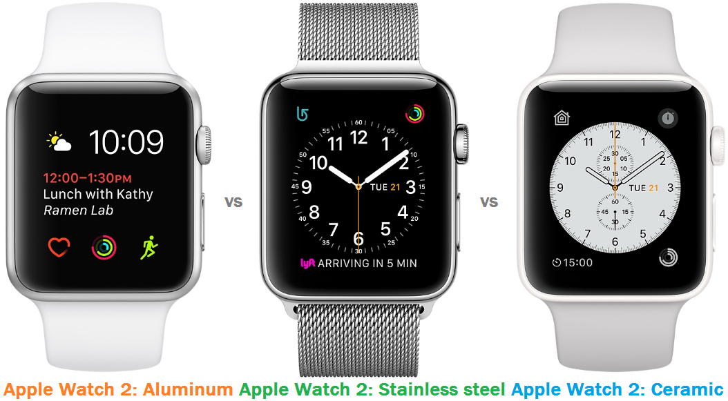 Comparison of Apple Watch 2: Aluminum, Stainless steel and Ceramic versions