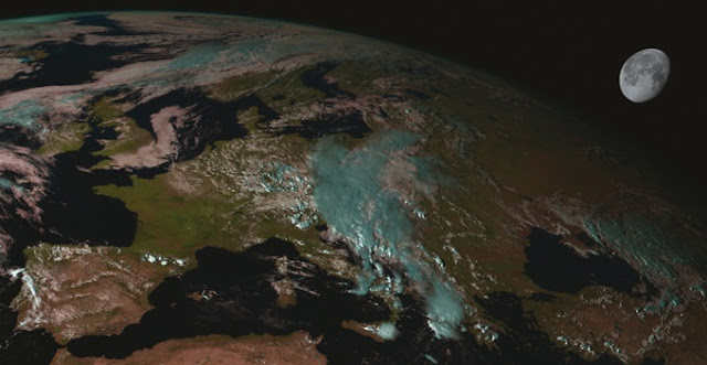 The moon appears in an image captured by the SEVIRI instrument on a Eumetsat Meteosat Second Generation satellite. Credit: Eumetsat