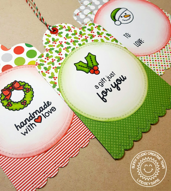 Sunny Studio Stamps: Holiday Gift Tags using Cresent Tag Topper Dies & Christmas Icons Stamps by Lindsey Sams.