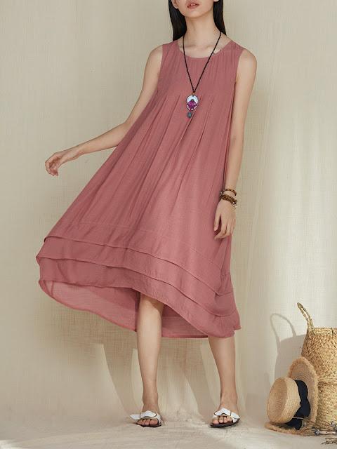 Solid Color Patchwork Irregular Pleated Sleeveless Vintage Dresses