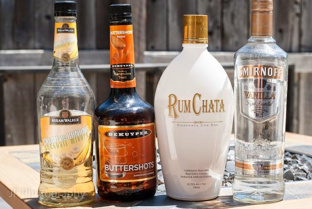 Rum Chata, vanilla vodka, banana liqueur, butterscotch schnapps, buttered monkey, buttered monkey photo, buttered monkey picture, buttered monkey image, buttered monkey recipe