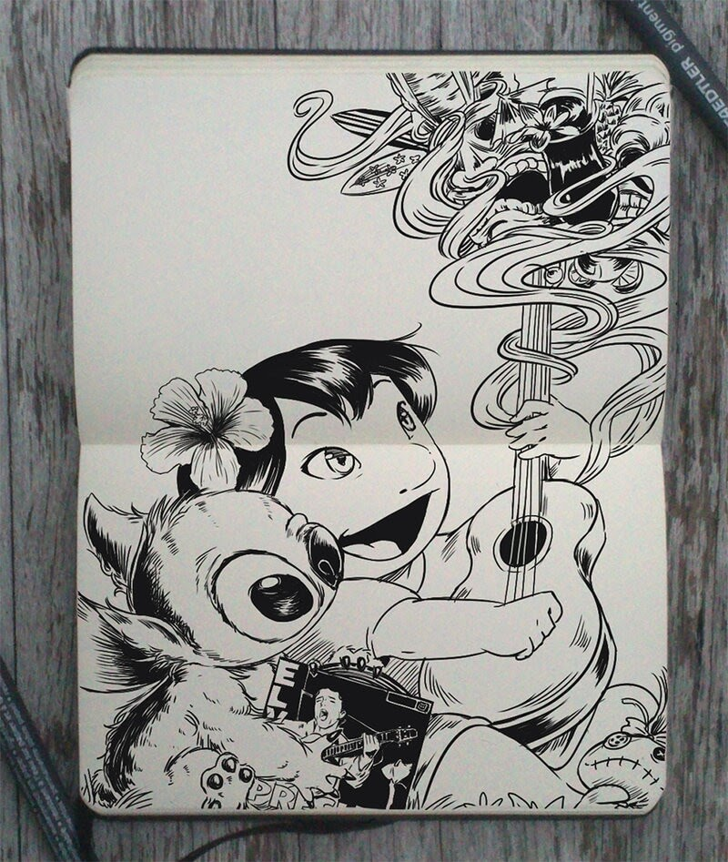 12-Lilo-and-Stitch-Gabriel-Picolo-Disney-Fantasy-Ink-Drawings-in-Moleskine-Illustrations-www-designstack-co