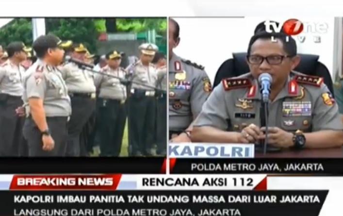 Kapolri Imbau Panitia Aksi 112 Tak Undang Massa dari Luar Jakarta