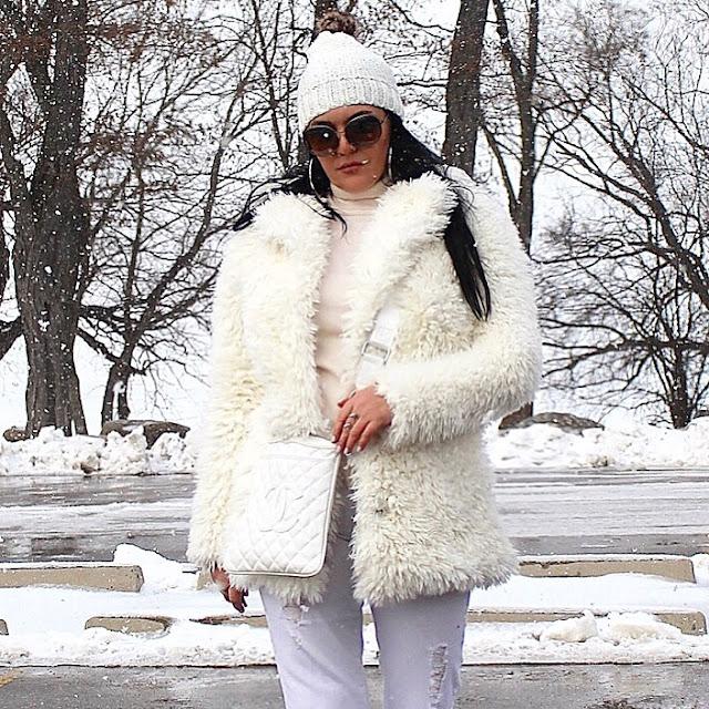 chanel bag, white bag, white pants, white coat, white faux fur