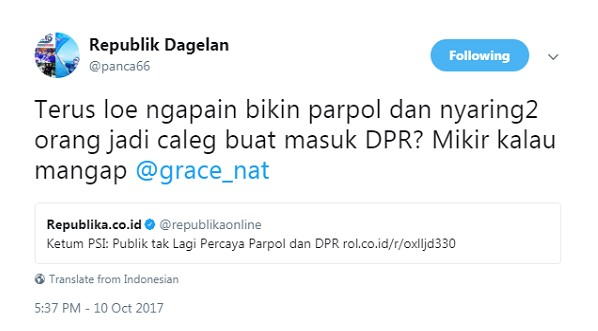 Ketum PSI: Rakyat Tak Percaya Parpol dan DPR, Netizen: Trus Loe Ngapain Bikin Parpol?