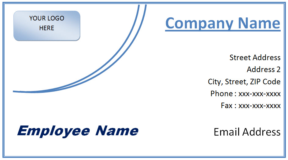 Microsoft Office Business Card Template Free Word and JPG Format