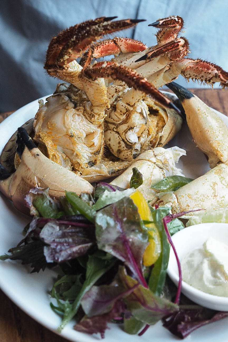 Crab starter with salad