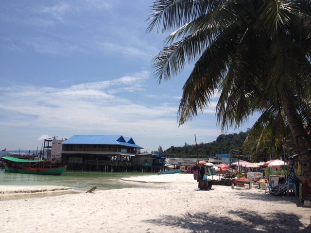 white sand beach and palm trees, island, cambodia