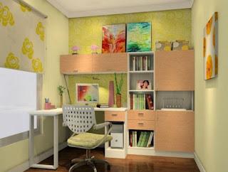 Gambar Desain Kamar Belajar Anak Sederhana Ruang Terbatas