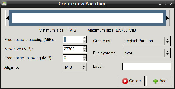 How to create linux partition using gparted