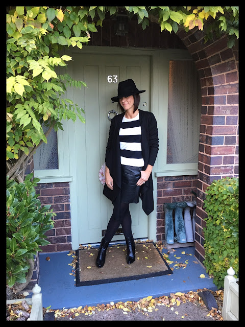 My Midlife Fashion, Sainsburys TU Clothing,  Stripe Monochrome Jumper, Trilby Hat