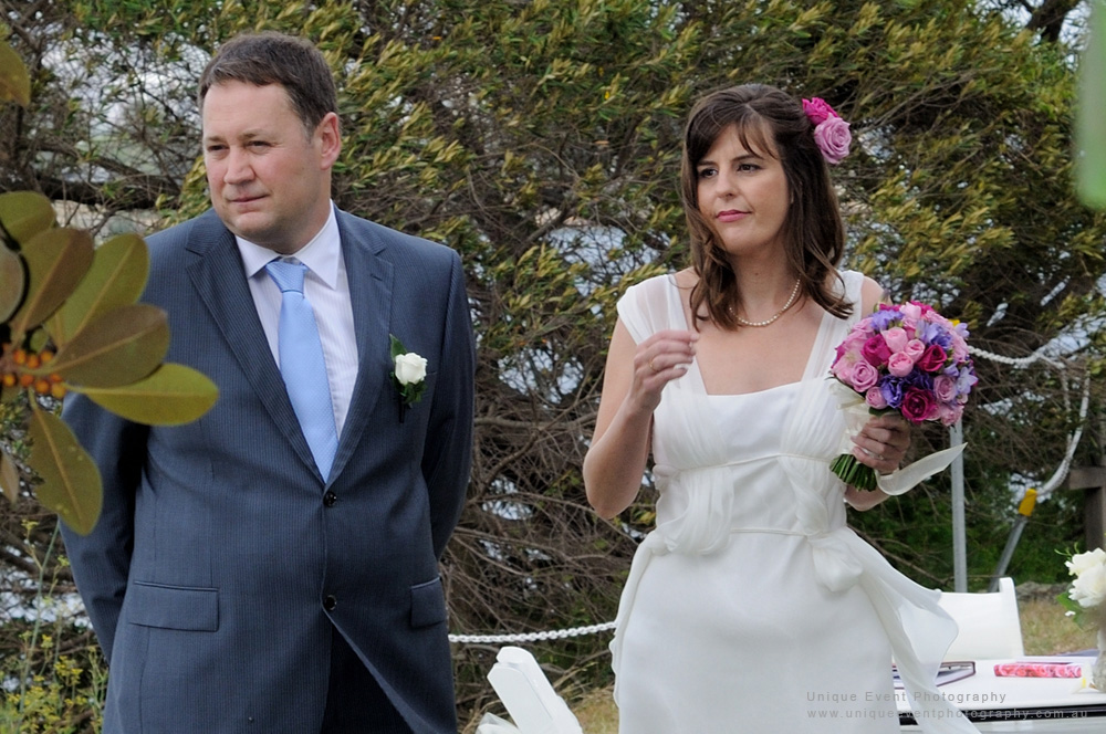 Bride and groom during the wedding ceremony, Garden Wedding Photographer Sydney.