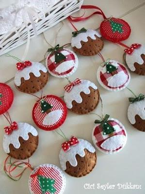 Adornos Navideños en fieltro para el Árbol de Navidad
